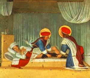 Predella dei santi Cosma e Damiano dalla pala di S.Marco a Firenze.guarigione miracolosa del diacono Giustiniano. Beato Angelico.